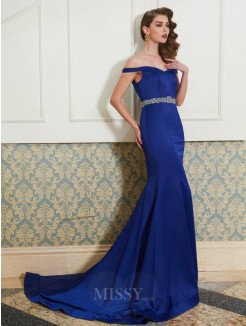 Trumpet/Mermaid Off-the-Shoulder Sleeveless Sweep/Brush Train Satin Evening Wear