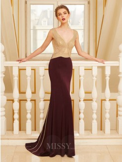 Sheath Straps Sleeveless Beading Sweep/Brush Train Jersey Evening Wear