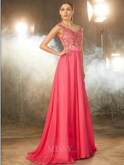 A-Line Sleeveless Sheer Neck Sweep/Brush Train Applique Chiffon Evening Wear