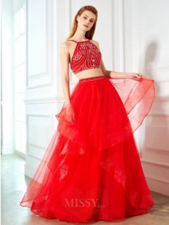 A-Line Spaghetti Straps Sleeveless Floor-Length Beading Tulle Two Piece Evening Wear