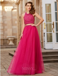 A-Line Halter Beading Sleeveless Tulle Floor-Length Two Piece Grad Dress