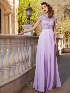 A-Line Scoop Short Sleeves Floor-Length Beading Chiffon Grad Dress