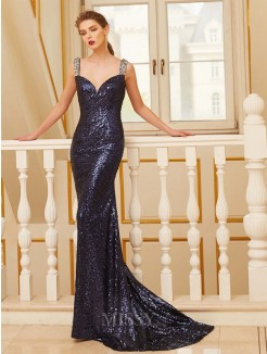 Column V-neck Sleeveless Sweep/Brush Train Beading Sequins Grad Dress