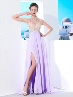 A-Line High Neck Sleeveless Sweep/Brush Train Chiffon Grad Dress