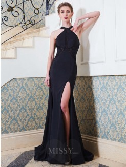 Column Jewel Sleeveless Sweep/Brush Train Beading Elastic Woven Satin Grad Dress