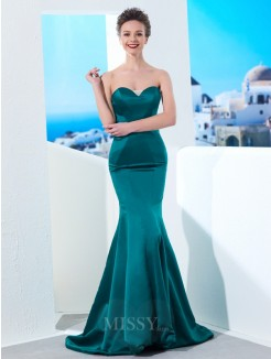 Trumpet/Mermaid Sweetheart Sleeveless Ruched Sweep/Brush Train Satin Grad Dress
