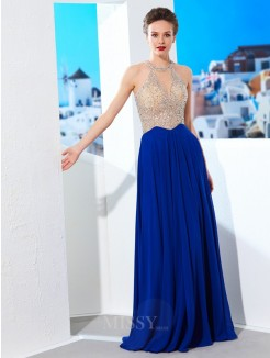 A-Line/Princess Scoop Sleeveless Floor-Length Chiffon Grad Dress