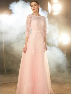 A-Line/Princess Bateau 1/2 Sleeves Floor-Length Applique Tulle Grad Dress