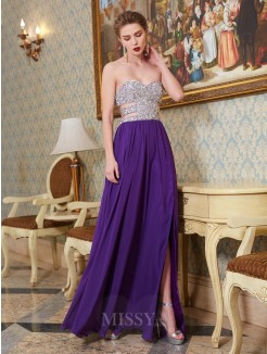 A-Line/Princess Sweetheart Sleeveless Floor-Length Chiffon Party Dress