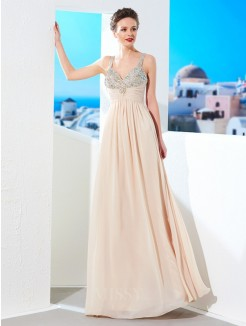 A-Line/Princess Spaghetti Straps Beading Floor-Length Chiffon Party Dress