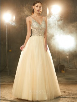 Ball Gown V-neck Sleeveless Beading Floor-length Tulle Party Dress