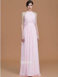 A-Line/Princess Halter Sleeveless Floor-Length Ruffles Chiffon Bridesmaid Dresses