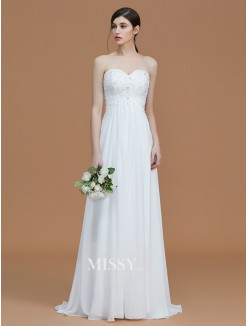 A-Line/Princess Sweetheart Sleeveless Sweep/Brush Train Beading Chiffon Bridesmaid Dresses
