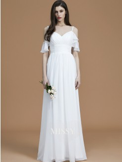 A-Line/Princess Spaghetti Straps Sleeveless Floor-Length Ruffles Chiffon Bridesmaid Dresses