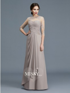 A-Line/Princess Sheer Neck 3/4 Sleeves Ruffles Chiffon Floor-Length Mother of the Bride Dresses