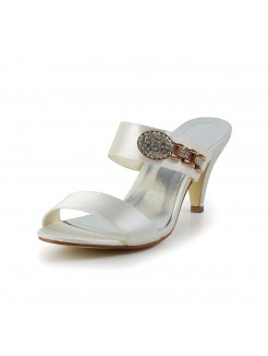 Attractive Satin Peep Toe With Rhinestone Shoes