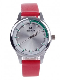 Women's Daybird 3806 Head Layer Cowhide Band Quartz Wristwatch - Red+Silver+Green