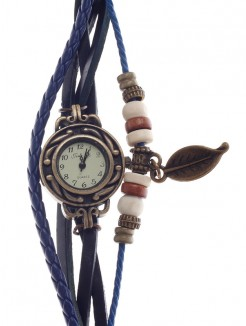 Stylish Tingyi Retro Women's Quartz Wristwatch with PU Leather Ropes Watchband - Blue+Bronze+White