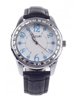 Fashionable Women's Quartz Wristwatch AODASI 4277G with Arabic Numeral Scale - Black+Silver