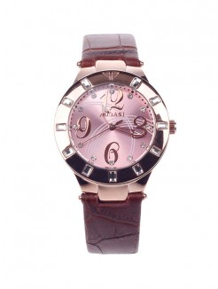 Stylish Women's Quartz AODASI 4279L Wristwatch with Rhinestone Decoration - Brown+Rose Gold
