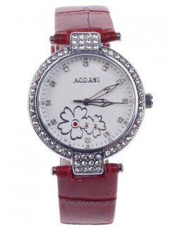 Fashionable AODASI 4300L Women's Quartz Wristwatch with Rhinestone Decoration - Red+Silver