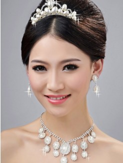 Bright Wedding Headpieces Necklaces Earrings Set