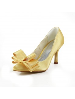 Brilliant Satin Closed Toe Bowknot Shoes