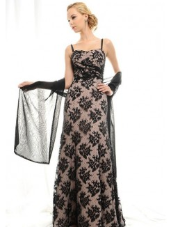 Column Spaghetti Straps Floor-Length Lace Mother Of The Bride Dress/Evening Dress