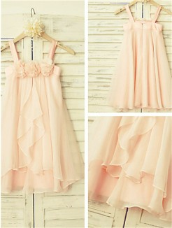 A-line/Princess Spaghetti Straps Sleeveless Ruffles Tea-Length Chiffon Flower Girl Dresses