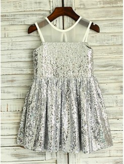 A-line/Princess Scoop Sleeveless Tea-Length Sequins Flower Girl Dresses