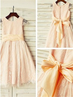 A-line/Princess Scoop Short Sleeves Sash/Ribbon/Belt Tea-Length Lace Flower Girl Dresses