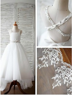 A-line/Princess Spaghetti Straps Sleeveless Beading Sweep/Brush Train Tulle Flower Girl Dresses