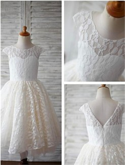A-line/Princess Scoop Short Sleeves Ankle-Length Lace Flower Girl Dresses