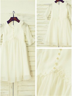 A-line/Princess Scoop Long Sleeves Ruffles Tea-Length Chiffon Flower Girl Dresses