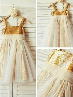 A-line/Princess Spaghetti Straps Sleeveless Ruffles Tea-Length Sequins Flower Girl Dresses