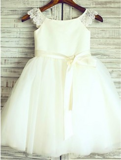 A-line/Princess Sleeveless Scoop Sash/Ribbon/Belt Knee-Length Tulle Flower Girl Dresses