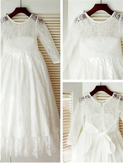 A-line/Princess Scoop Long Sleeves Bowknot Ankle-Length Lace Flower Girl Dresses