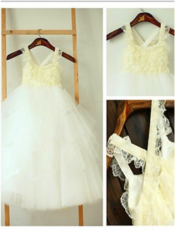 Ball Gown Square Sleeveless Layers Tea-Length Tulle Flower Girl Dresses