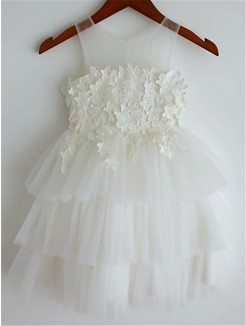 A-line/Princess Straps Sleeveless Lace Tea-Length Tulle Flower Girl Dresses