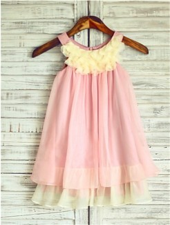 A-line/Princess Straps Sleeveless Ruched Tea-Length Chiffon Flower Girl Dresses