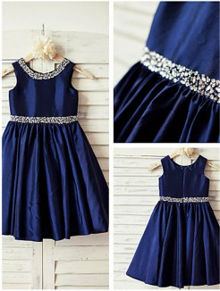 A-line/Princess Scoop Sleeveless Rhinestone Tea-Length Taffeta Flower Girl Dresses