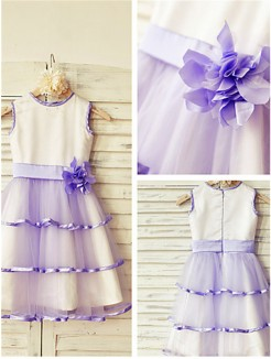 A-line/Princess Scoop Sleeveless Hand-made Flower Tea-Length Tulle Flower Girl Dresses