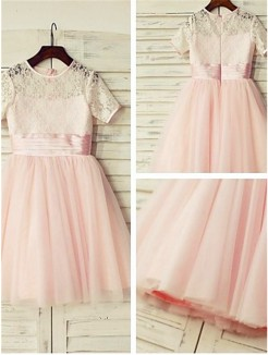 A-line/Princess Jewel Short Sleeves Lace Tea-Length Tulle Flower Girl Dresses