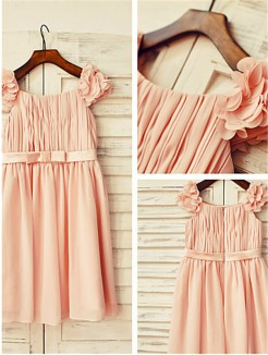 A-line/Princess Straps Sleeveless Layers Tea-Length Chiffon Flower Girl Dresses