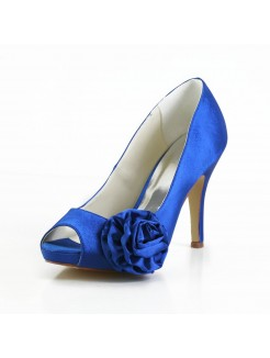 Elegant Satin Peep Toe Stiletto Heel Pumps with Flower Wedding/Party/Evening Shoes