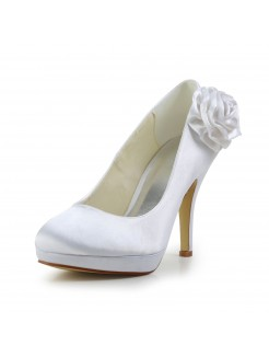 Elegant Satin Stiletto Heel Pumps with Flower Wedding/Party/Evening Shoes