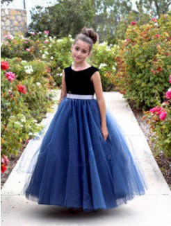 A-Line/Princess Sleeveless Tulle Ankle-Length Sash/Ribbon/Belt Flower Girl Dress
