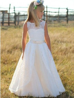 A-Line/Princess Sleeveless Scoop Floor-Length Sash/Ribbon/Belt Lace Flower Girl Dress