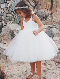 A-Line/Princess Sleeveless Halter Tea-Length Ruffles Tulle Flower Girl Dress