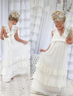Empire Sleeveless V-neck Floor-Length Chiffon Lace Flower Girl Dress